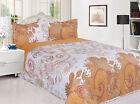 3 Piece Reversible Quilted Printed Bedspread Coverlet - Gold Flower image