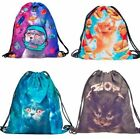 "Kitty Cat Drawstring Backpacks 15"" X 11"" Travel Day Sack, Field Trip Bag, Fun"