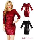 VALENTINE Womens Sexy O Neck Long Sleeve Sequin Sparkly Backless LBD Party Dress