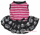 Halloween Plain Hot Pink Stripe Top Skull Crown Tutu Pet Dog Dress Puppy Clothes