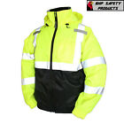 Hi-Vis Insulated Safety Bomber Jacket Orange and Lime ROAD WORK HIGH VISIBILITY