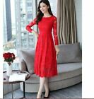 Women's long-sleeved lace slim temperament long big swing dress KREDT59267#