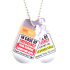 Brushed Silver Effect Emergency Medical Identity Dog Tag Necklace Chain Set ICE