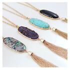 big stone necklace - Delicate Drusy Big Oval Pendant Necklace Colorful Boutique Women Fashion Jewelry