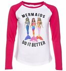 Official Women's Barbie Mermaids Do It Better White and Hot Pink Baseball T-Shir