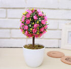 Artificial Rose Flower Ball Potted Plants Fake Boxwood Ball Topiary House Decor