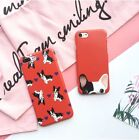 Red French Bulldog Cute Cartoon Couple Soft Case Cover For iPhone8 X 7 plus 6 6S