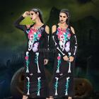 Ladies Skeleton Long Tube Dress Costume Womens Halloween Fancy Dress Outfit F6V5