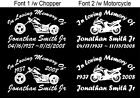 In Loving Memory Of - Chopper Motorcycle Sticker Decal 2 Style and Fonts Window