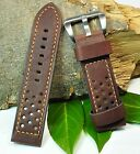 (M289) Premium Wrist Watch Band, Rally Design, 20,22, 24 mm, Perforated, Brown,
