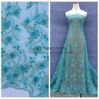 Lack blue/Red heavy beaded lace fabric 47'' width 1 yards