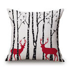18* Cotton Linen Sofa Car Home Waist Cushion Cover Throw Pillow Case chriatmas
