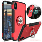 For iPhone 8 7 6S Plus 360° Protective Magnetic Ring Case Cover + Tempered Glass