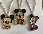 CUTE BABY MICKEY MINNIE MOUSE Necklace Silver Plated chain Present in Gift Bag