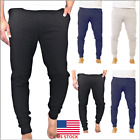 Mens Slim Fit Solid Skinny Pencil Stretch Long Trousers Sports Gym Running Pant