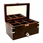 Gift Engraved Dark Wood Jewellery Box with Mirror, Personalised Jewelry Storage