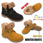 GIRLS WARM FAUX FUR LINED COMBAT BOOTS INFANTS TRAINERS KIDS ANKLE WINTER SHOES