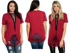 Lace Up Front Slashed Distressed Ladder Ripped Jersey Tunic Top Plus Size 12-20