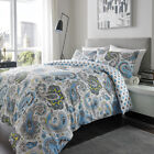 Warm 100% Brushed Cotton Flannelette Paisley Duvet Set in Turquoise All Sizes