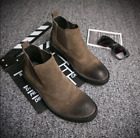 Mens Retro British Brogue Ankle Boots Wingtip Suede Dress Casual Pull On Shoes