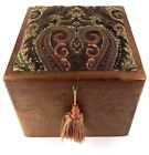 Wood Handmade Keepsake Sewing Box Upholstered Lid Footstool w Tassel 10.5 x 10.5