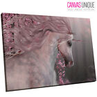 A770 Pink Floral Unicorn Forest Animal Canvas Wall Art Framed Picture Print