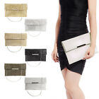 Metal Bar Flap Glitter Shimmer Lurex Envelope Clutch Soft Women Shoulder Bag