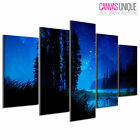 PC055 River Bank Night Scenery  Scenic Multi Frame Canvas Wall Art Print