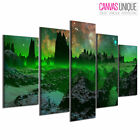 PC695 Green Mist Scifi Space Mountain Scenic Multi Frame Canvas Wall Art Print