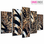 5PA417 Brown Zebra Leopard Coat Fur Animal Multi Frame Canvas Wall Art Print