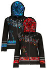 New Butterfly Embroidered Fleece Lined Hooded Jacket Red Blue