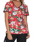 Cherokee Tooniforms Christmas Scrub Top TF615 Frosty the Snowman Free Ship *NEW