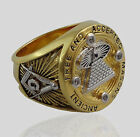 A.F.A.M Masonic Ring Mason All Seeing Eye Pyramid 18k Gold Pld Handmade UNIQABLE