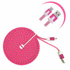 LOT Flat 10ft Braided Micro USB Charger Cable Cord Sync For Samsung Cell Phones