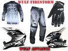 WULFSPORT BLACK/WHT BUNDLE MX ADULTS HELMET+ ATTACK SUIT & GLOVES FREE GOGGLES