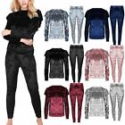 Women Crushed Velour Velvet Ladies Ruffle Frill Jogging Loungewear Tracksuit Set