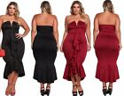 LBD Strapless Cascading Ruffle Hi-Low Party Evening Dress Plus Size 16 18 20