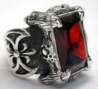 RED GARNET DRAGON CLAW & AXE STERLING SILVER MEN'S RING BIKER HEAVY METAL GOTHIC