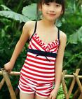 Girls Kids Navy Conservative Separates Swimsuit Swimwear Bathing Suit SZ6-12 522