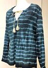 Natural Life Striped Blue Tie Die Blouse with Gold Tie