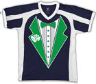 Fake Tuxedo Green Irish Shamrocks St Patrick's Day Bow On Men's V-Neck Sport Tee
