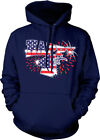 Happy 4th Fourth Of July American Flag Colors Fireworks USA US Hoodie Sweatshirt