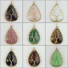 Amethyst Obsidian Opalite Teardrop Golden Wire Wrap Tree Of Life Pendant Bead
