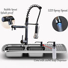 LED Kitchen Sink Faucet Spring Swivel Pull Down Deck Mounted W/ Soap Dispenser