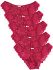 EX CHAINSTORE BEAUTIFUL LACE BRAZILIAN KNICKERS/PANTS -CHERRY RED 5 PACK SIZE 10