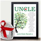 UNCLE PERSONALISED Keepsake Poem Christmas Gifts for Uncle Xmas Presents for Him