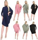 Womens Ladies Long Sleeve One Shoulder Ruched Batwing Dress Top Plus Size 8-26