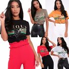 Women Amour Designer Inspired Casual Loose Tops Ladies T-Shirt Slogan Stripe Tee
