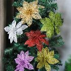 10Pcs Christmas Glitter Hollow Flower Decoration Flowers for Christmas Trees New