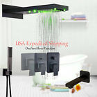 LED Rectangle Shower Faucet Wall Mounted Hand Spray Massage Jets Shower System
